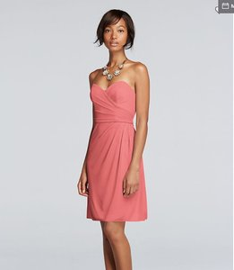 David's Bridal Coral Reef Mesh Short Strapless with Sweetheart Neck Casual Bridesmaid/Mob Dress Size 16 (XL, Plus 0x)