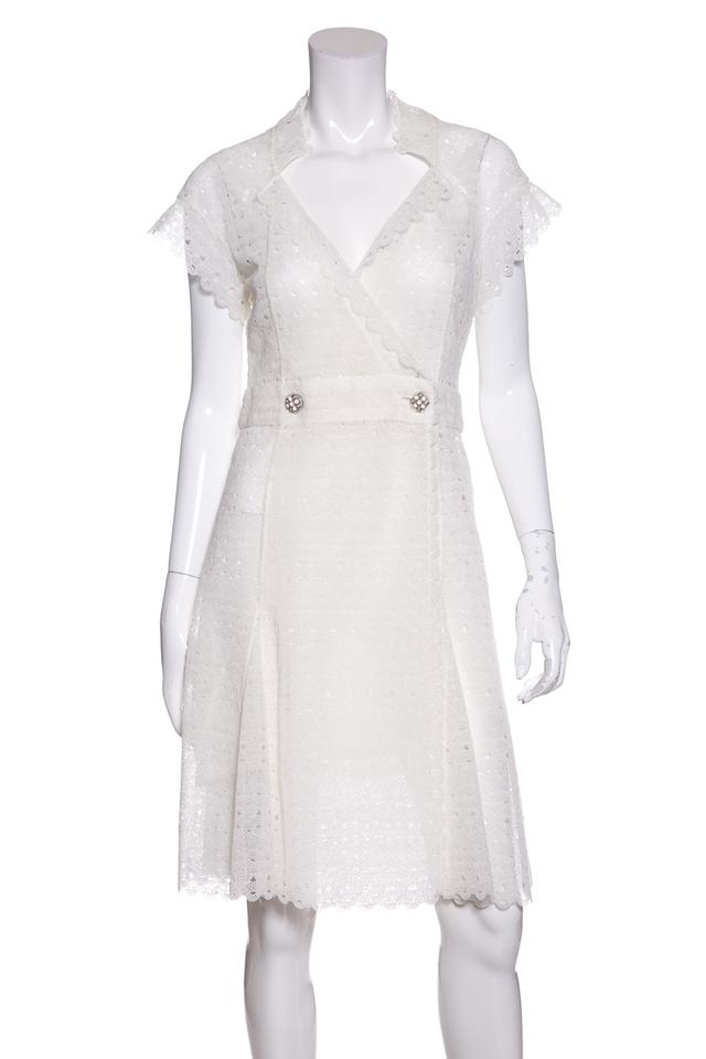8449acfe7eb Chanel White Lace Short Casual Dress Size 4 (S) - Tradesy
