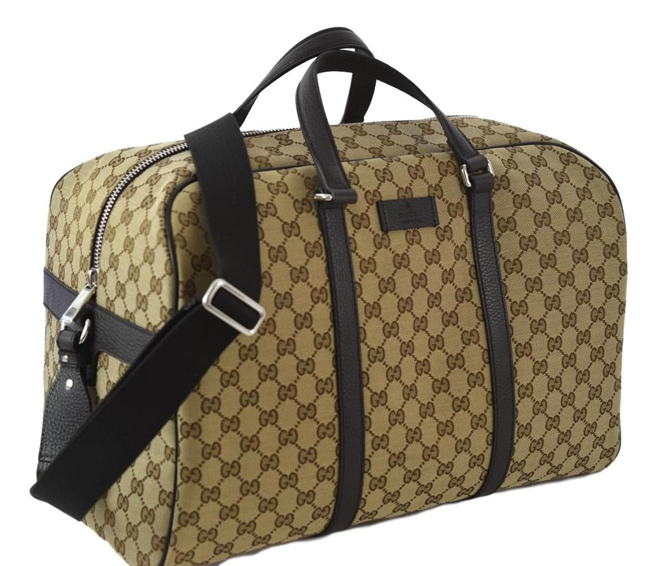 4545d2e8d2a Gucci Gg Carry On Duffle 449167 Beige Brown Canvas Weekend Travel ...