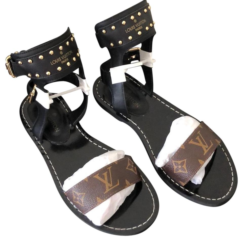 b660527ceb3 Louis Vuitton Black and Brown Nomad Gladiator Sandals Size US 8 ...