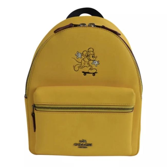 Item - Charlie Disney Mickey Mouse Mini Banana Yellow Leather Backpack