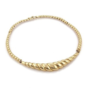 Other Estate 14k Yellow Gold Swirl Design Long Section Link Collar Necklace