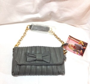 Betsey Johnson Gray Leather Bow Clutch Shoulder Bag