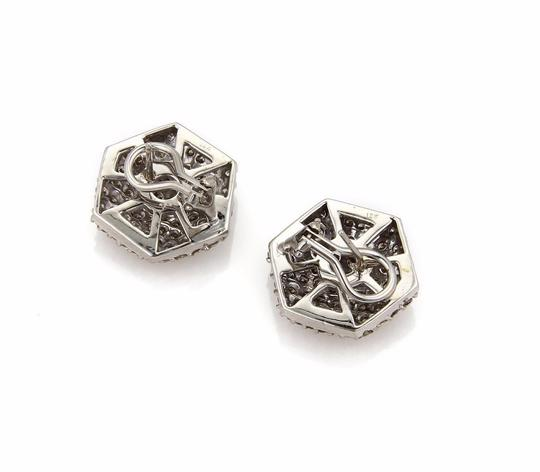 Other 3.50 Carats Diamond18k White Gold Octagon Shape Post Clip Earrings Image 1