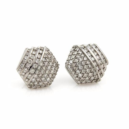 Other 3.50 Carats Diamond18k White Gold Octagon Shape Post Clip Earrings Image 2