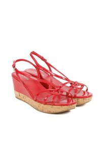 Prada Patent Leather Sandals Red Wedges