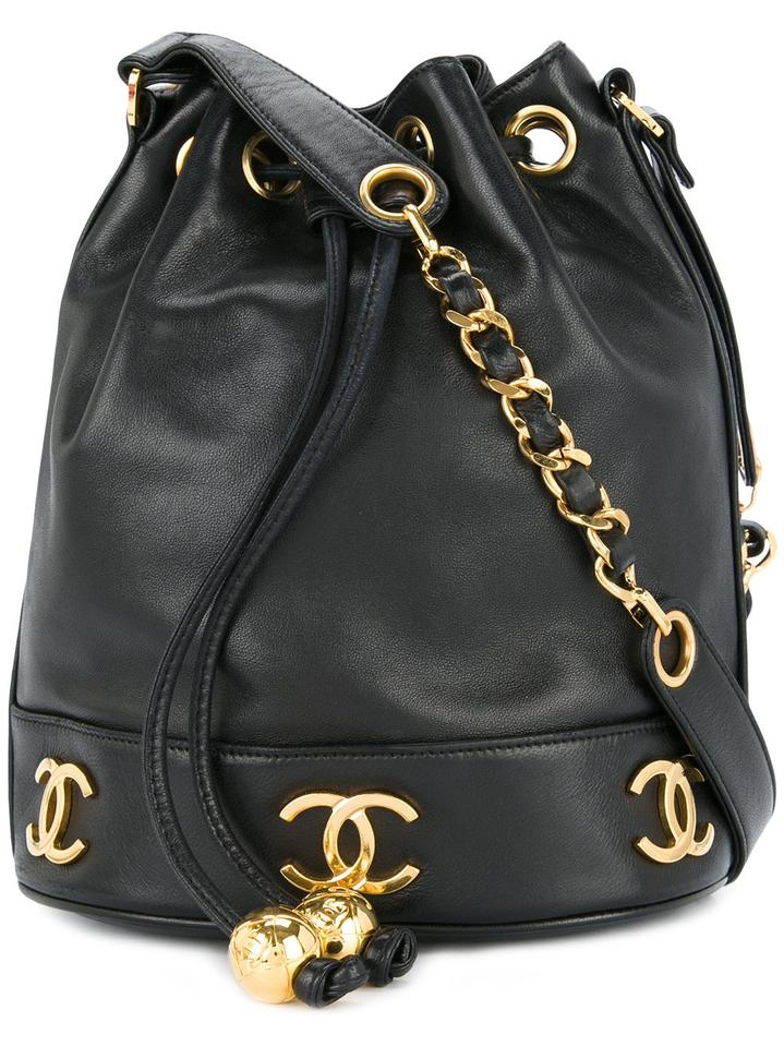chanel rare vintage medium bucket gold hardware cc logo tote black lambskin leather shoulder bag. Black Bedroom Furniture Sets. Home Design Ideas