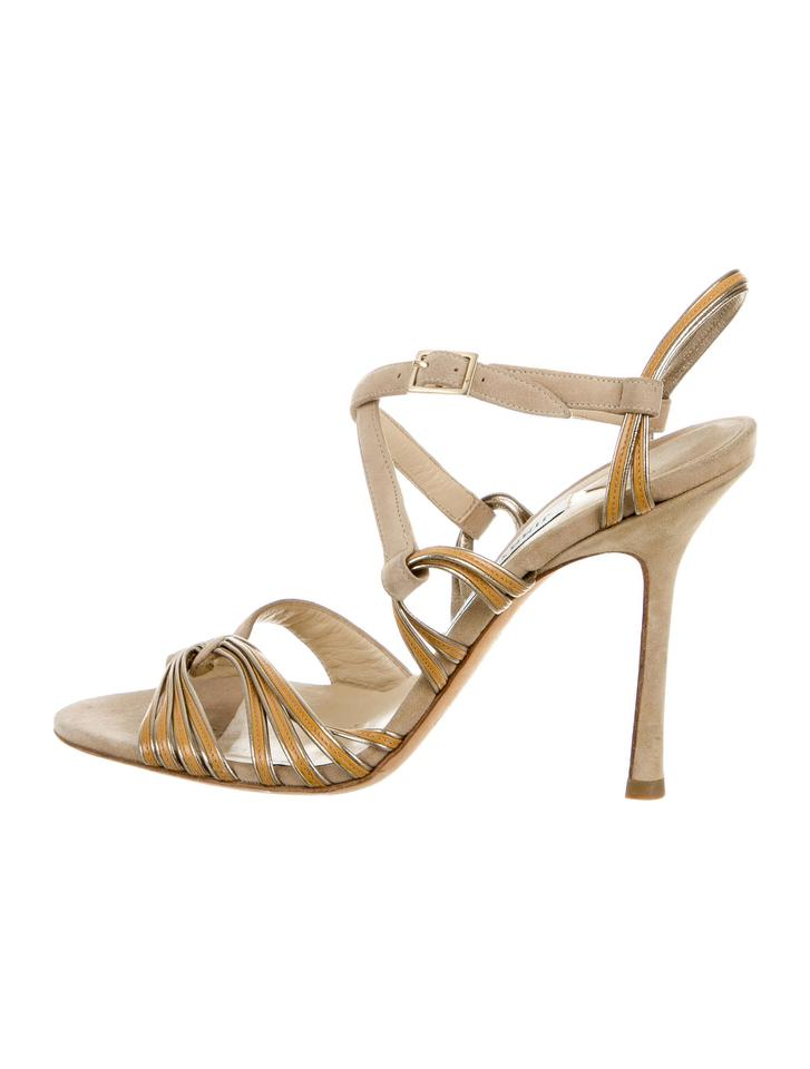 Jimmy Choo Leather Nude Suede Tan Patent Leather Choo Multistrap Sandals 0b542c