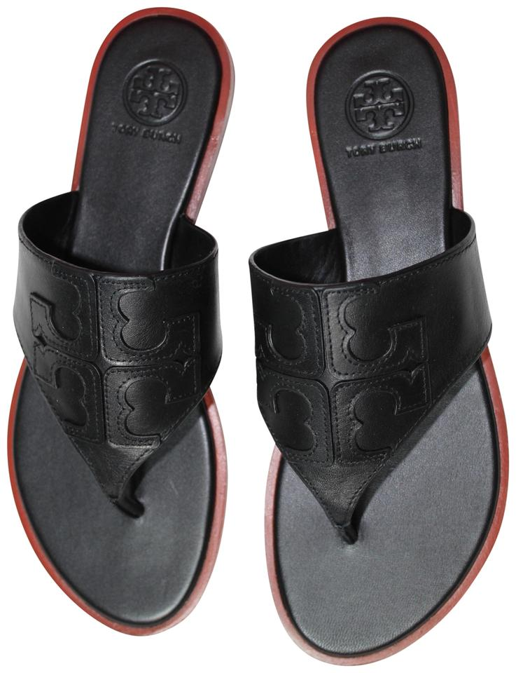 51b10ee8a78e Tory Burch Black New Leather Logo Flats Flip Flops Sandals Size US ...