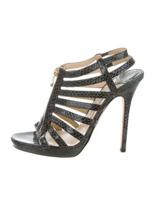 Jimmy Choo Snakeskin Glenys Strappy Dark Green Sandals