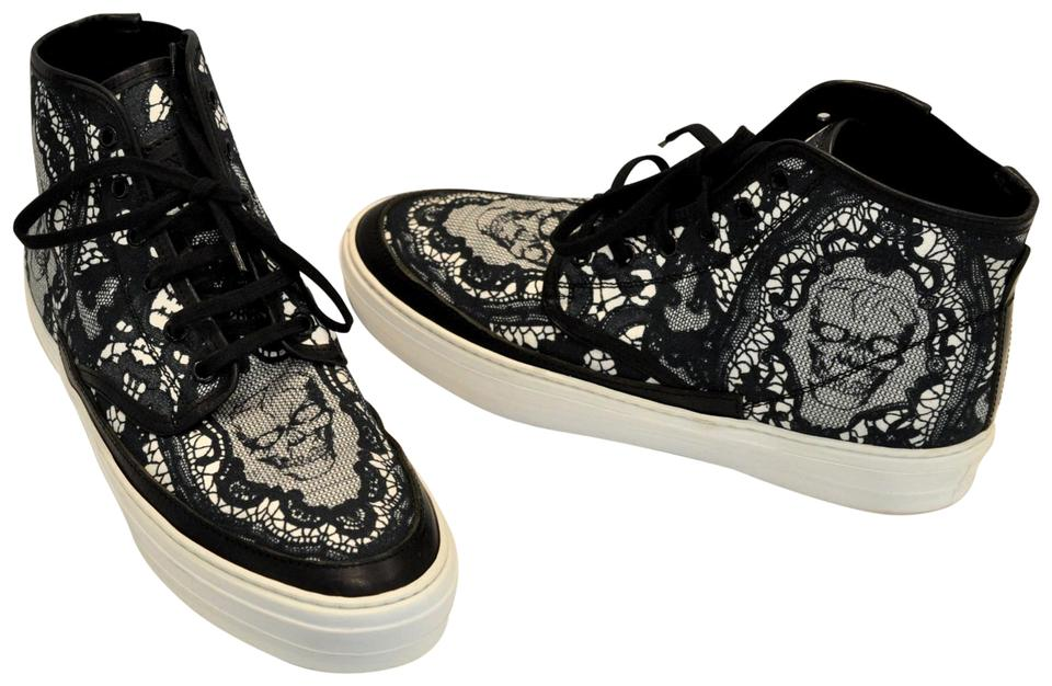 568647beb6792 Alexander McQueen Black Skull and Lace High-top Sneakers Sneakers ...