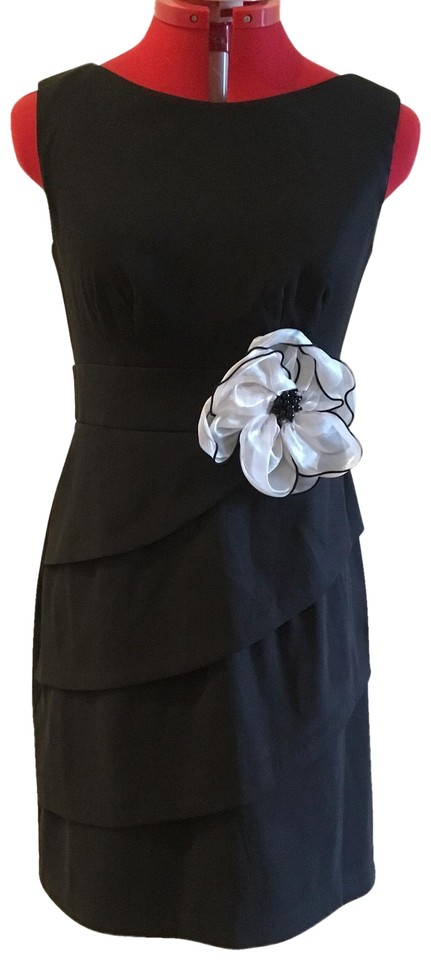 4b68deb06b11 Connected Apparel Black With Flower Short Formal Dress Size Petite 4 ...