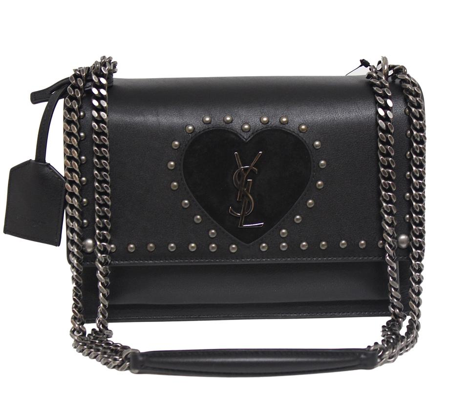 18fea746cbdd Saint Laurent Classic Monogram Sunset New Heart-detail Studded Messenger  Black Leather Cross Body Bag