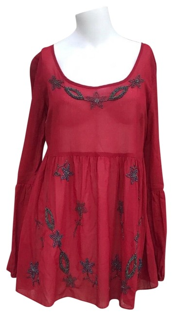 Item - Beads Embellished Sheer Baby Doll Red Top