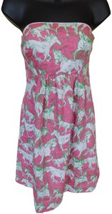 Lilly Pulitzer short dress Pink and Green Summer Cotton Strapless Belted Horse on Tradesy