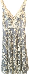 Aidan Mattox Embroidered Lace A-line Plunge Dress