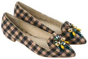 Boden Tweed Crystal Leather Gray, Ivory Flats