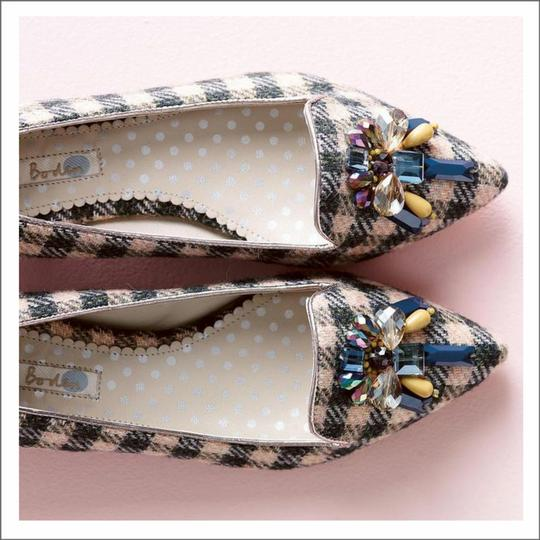 Boden Tweed Crystal Leather Gray, Ivory Flats Image 9