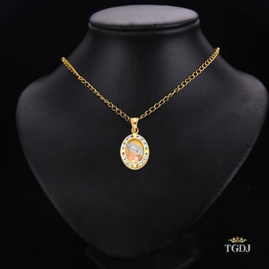 Top Gold & Diamond Jewelry 14K Yellow Gold Baptism CZ Religious Pendant