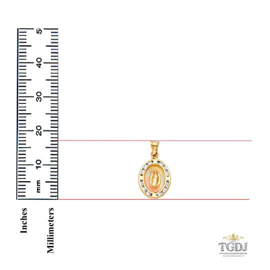 Top Gold & Diamond Jewelry 14K Yellow Gold Guadlupe CZ Religious Pendant