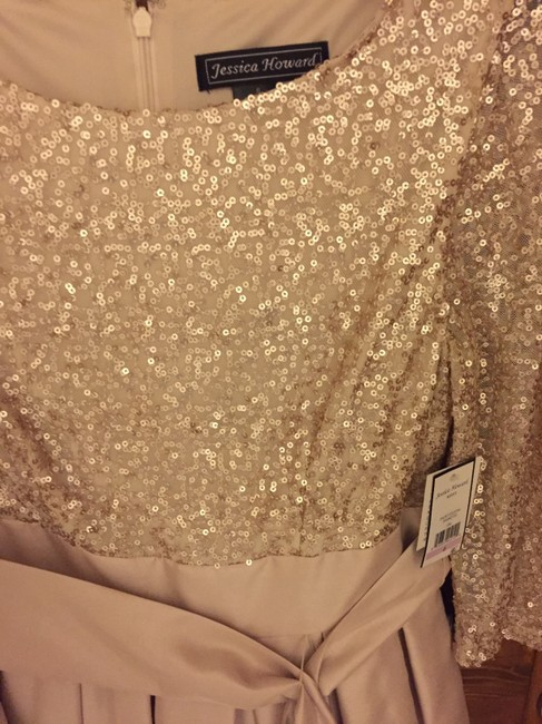 Jessica Howard Sequin Champagne Silk Pleated Dress