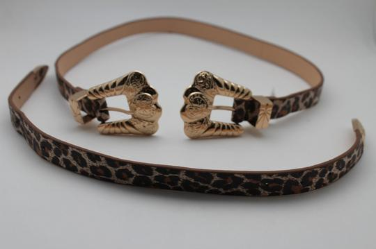 Alwaystyle4you Leopard Faux Leather Animal Print Gold Double Buckle Women Belt