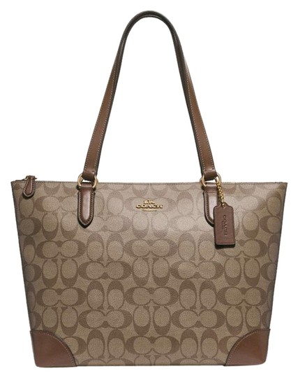 Preload https://img-static.tradesy.com/item/23295547/coach-zip-top-shoulder-in-signature-f29208-khakisaddle-canvas-tote-0-1-540-540.jpg