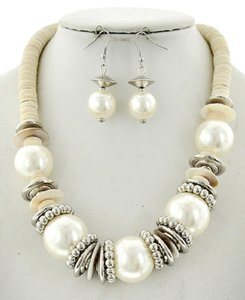 UNBRANDED White Wood Cream Synthetic Pearl Necklace & Earring Set