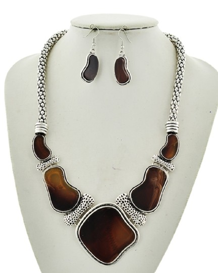 UNBRANDED Brown Acrylic Epoxy Statement / Necklace & Earring Set