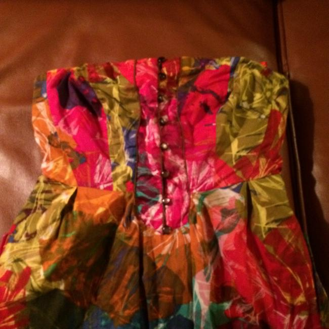 Moulinette Soeurs short dress Red, green, blue, yellow, pink Romantic Strapless on Tradesy