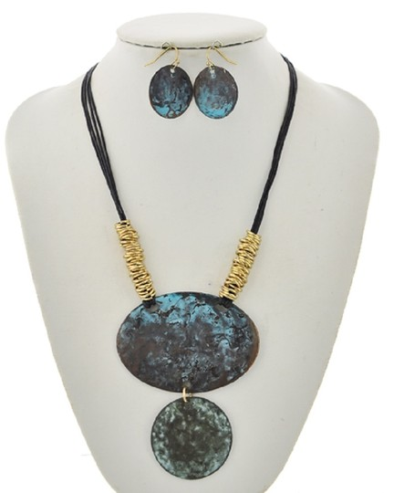 UNBRANDED Patina Black Cord Necklace & Earring Set