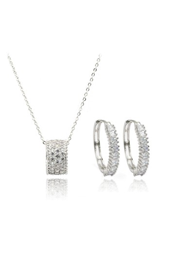 Preload https://img-static.tradesy.com/item/23295729/silver-crystal-earrings-set-necklace-0-0-540-540.jpg