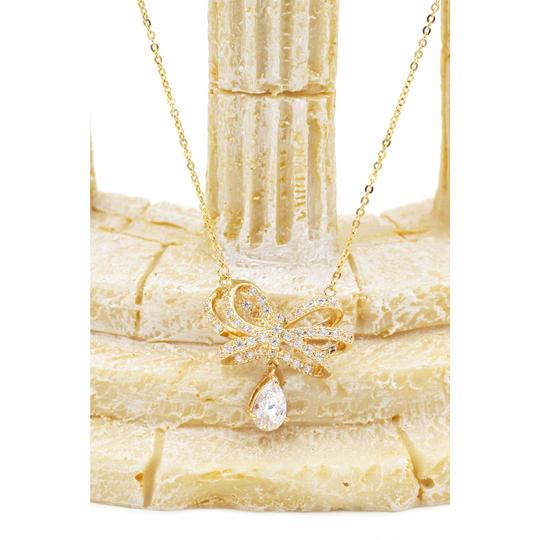 Ocean Fashion 925 Gold Noble bowknot crystal pendant necklace