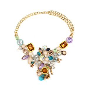 Ocean Fashion Colorful crystal golden necklace