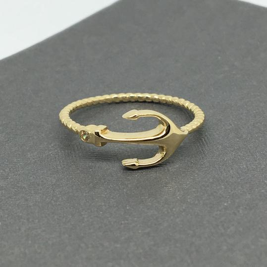 Other 14K Yellow Gold Sideway Anchor CZ Ring