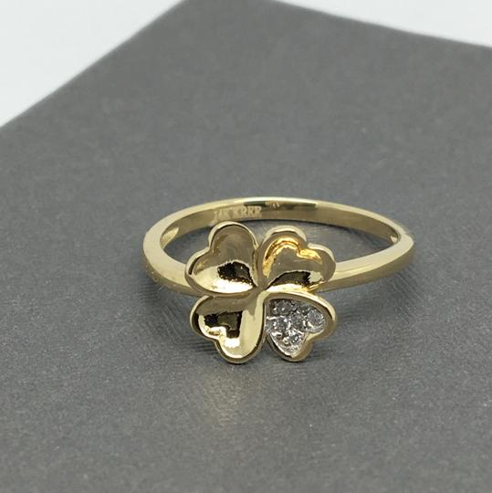Other 14K Yellow Gold 4 Heart Petals CZ Flower Ring