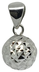 Other 18K White Gold Diamond Cut Ball Pendant