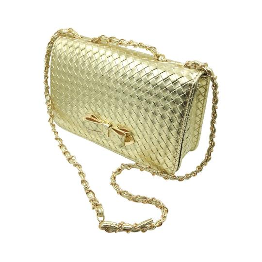 Preload https://img-static.tradesy.com/item/23295828/noble-plaid-bow-lady-purse-gold-faux-leather-shoulder-bag-0-1-540-540.jpg