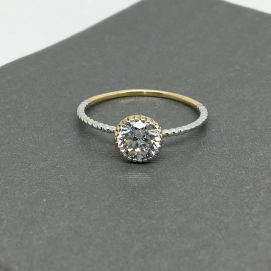 Other 14K Two-Tone Gold CZ Solitaire Ring