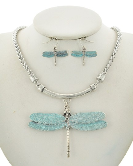 UNBRANDED Blue Dragonfly Necklace & Earring Set