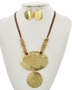 UNBRANDED Gold Tone Brown Cord Necklace & Earring Set