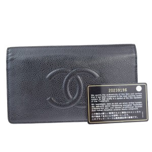 Chanel Black Caviar CC Long Wallet