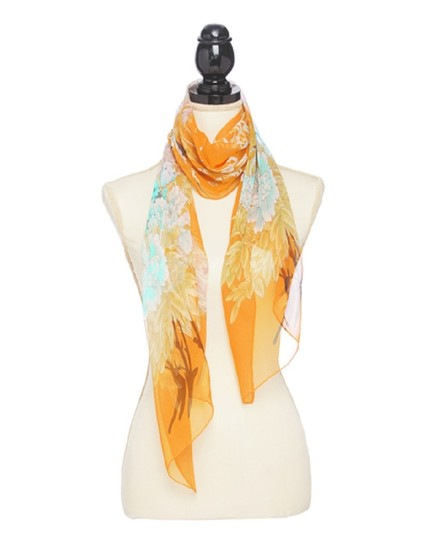 Preload https://img-static.tradesy.com/item/23295886/orange-polyester-silky-floral-print-oblong-scarfwrap-0-0-540-540.jpg