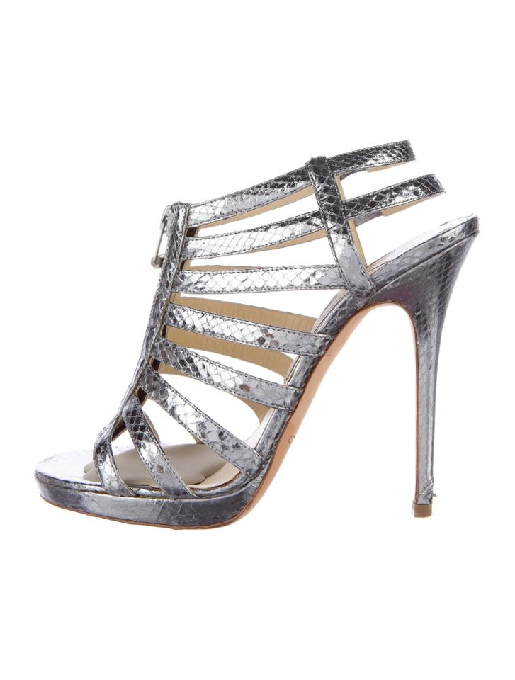 fcd035bb5d85 Jimmy Choo Silver Metallic Glenys Embossed Multistrap Caged Sandals. Size   US ...