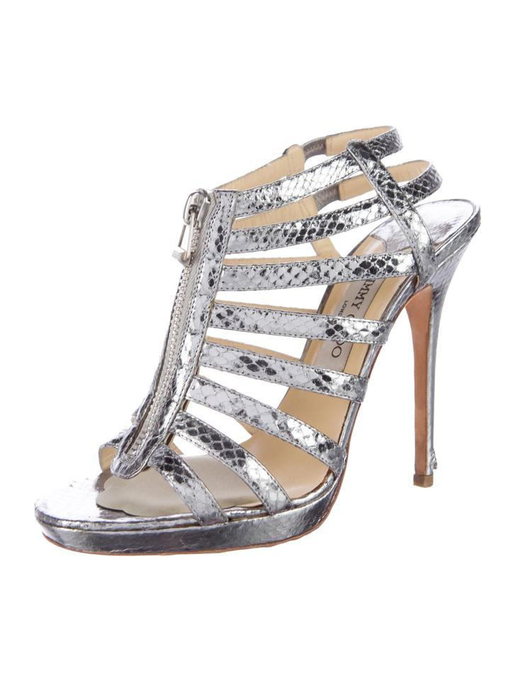 8b580a268f18 Jimmy Choo Silver Metallic Glenys Embossed Multistrap Caged Sandals ...