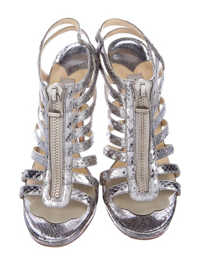 Jimmy Choo Glenys Multistrap Caged Silver Sandals