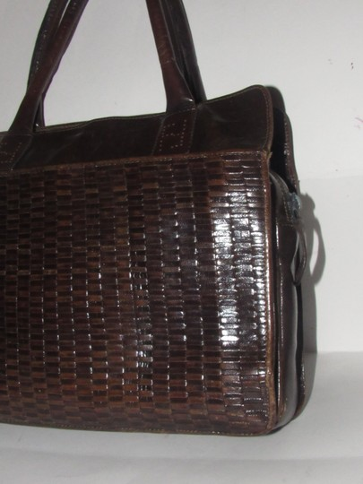 Fendi Excellent Vintage Multiple Compartment Xl Handheld Early Sas Rich Color Satchel in ox-blood/ burgundy woven and smooth leather