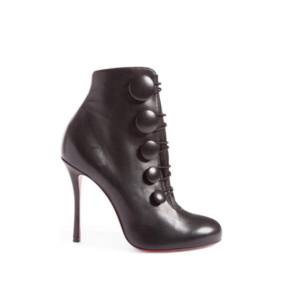 64f582eff69 Christian Louboutin Black Booton Leather Red Sole Button Boots/Booties Size  US 7.5 Regular (M, B) 32% off retail
