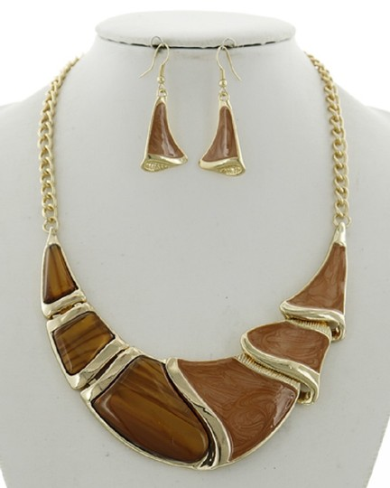 UNBRANDED Brown Acrylic Statement Necklace & Earring Set