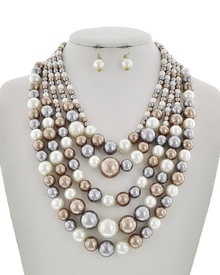 UNBRANDED Grey Multi Color Synthetic Pearl Necklace & Earring Set